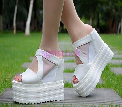 2017 Womens Peep toe 14CM Platform Wedge High heel Slingbacks Slipper shoes Size