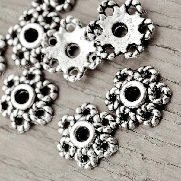 150Pcs Tibetan Silver Flower DIY Bead End Caps TS1993