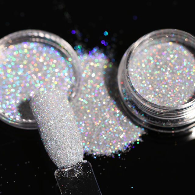 2g Nail Art Holographic Glitter Powder Dust Gray Holo Laser Shining