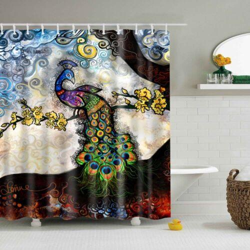 Schöne bunte Pfau Muster Stoff wasserdicht Badezimmer Duschvorhang mit Haken
