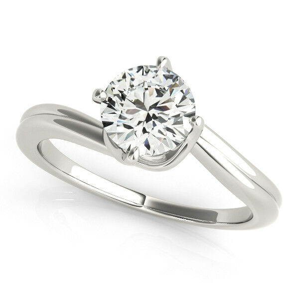 1.00 Ct Round Solitaire Moissanite Engagement Ring 14K Solid White gold Size 5 6