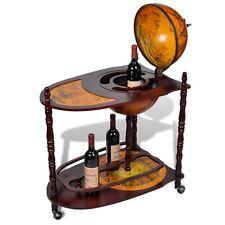 Vintage Wooden Wine Rack Cabinet Globe Table Bar Trolley Bottle Holder Stand NEW