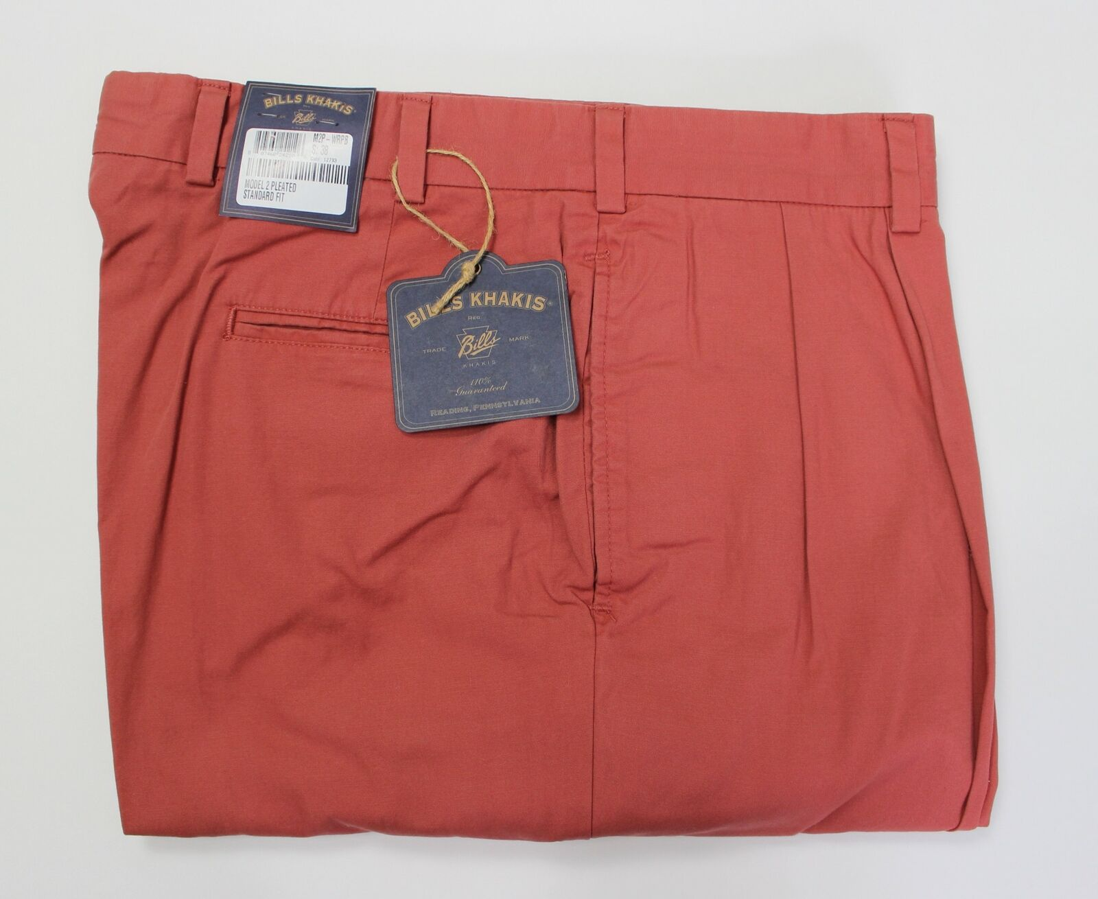 BRAND NEW-Bills Khakis M2 Weathered Red Pleated Poplin Pants -Size 46-MSRP