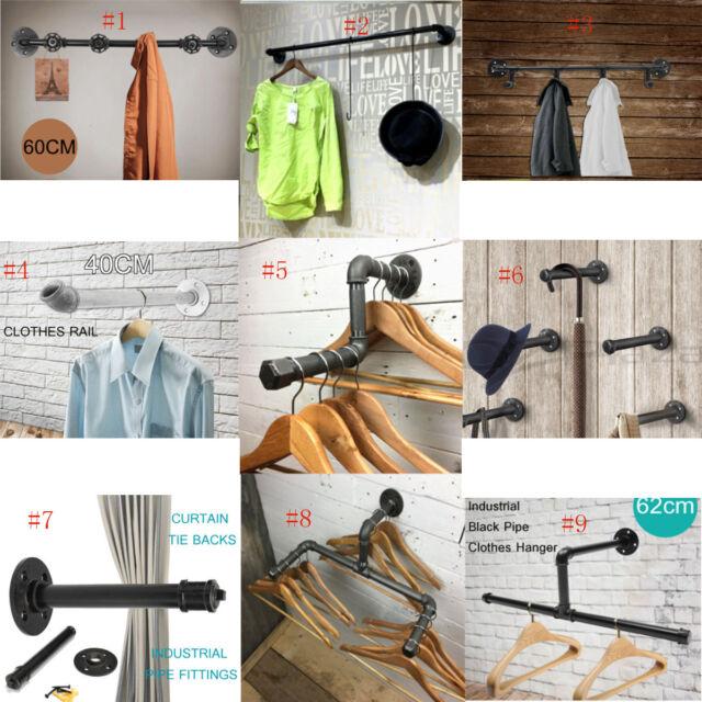 Industrial Iron Pipe Rack Wall Door Hook Clothes Coat Shelf Hat Towel Bath Rail