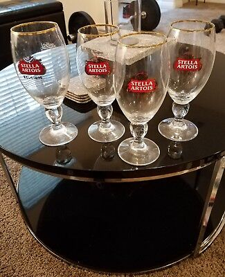 Set of 4 Stella Artois Belgium Large 50cl Chalice Pilsner Beer Glasses