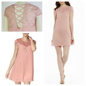 7cbde34278cd5 nwt B. Darlin Womens Pink Lace Criss-Cross Back Casual shift Dress ...