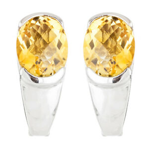 100-NATURAL-10X8MM-CITRINE-CHECKERBOARD-CUT-AAA-STERLING-SILVER-925-EARRING