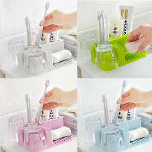 Holder Stand Set 2 Cups+1 Toothpaste + 4 Toothbrush Organizer Bathroom Soap Rack