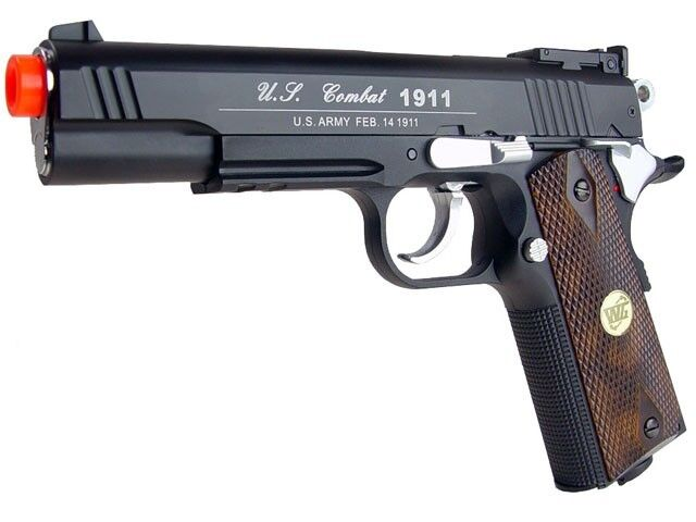 Airsoft Co2 Metal Pistol Gun 500 FPS WG Win Gun Combat 601 High Power 1911 Black