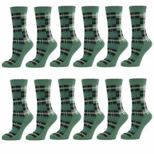 GREEN-TARTAN-WHITE-CHECK-MENS-ANKLE-SOCKS-SIZE-6-11