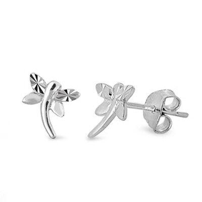 Silver Dragonfly CZ Stud Earrings Sterling Silver 925 Best Price Jewelry 9mm