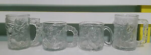 MCDONALDS-RARE-FROSTED-BATMAN-GLASSES-ROBIN-TWO-FACE-RIDDLER-90S-LIMITED-EDITION