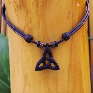 Lederkette-Keltischer-Knoten-Dreiecksknoten-Surferkette-Halskette-Herren-Damen