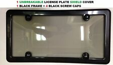 Black Frame + Smoke Shield For License Plate + 4 Black Screw Caps for BMW