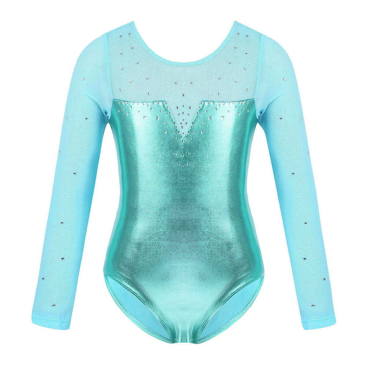 Girls Ballet Dance Leotards Gymnastics Shiny Long Sleeve Jumpsuit Bodysuit 3-14Y