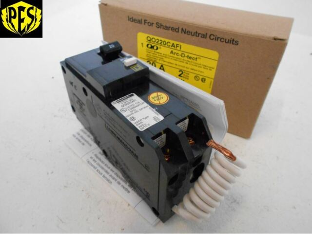 Square D QO220CAFI 2 Pole 20 Amp 120/240v Combination Arc Fault ...