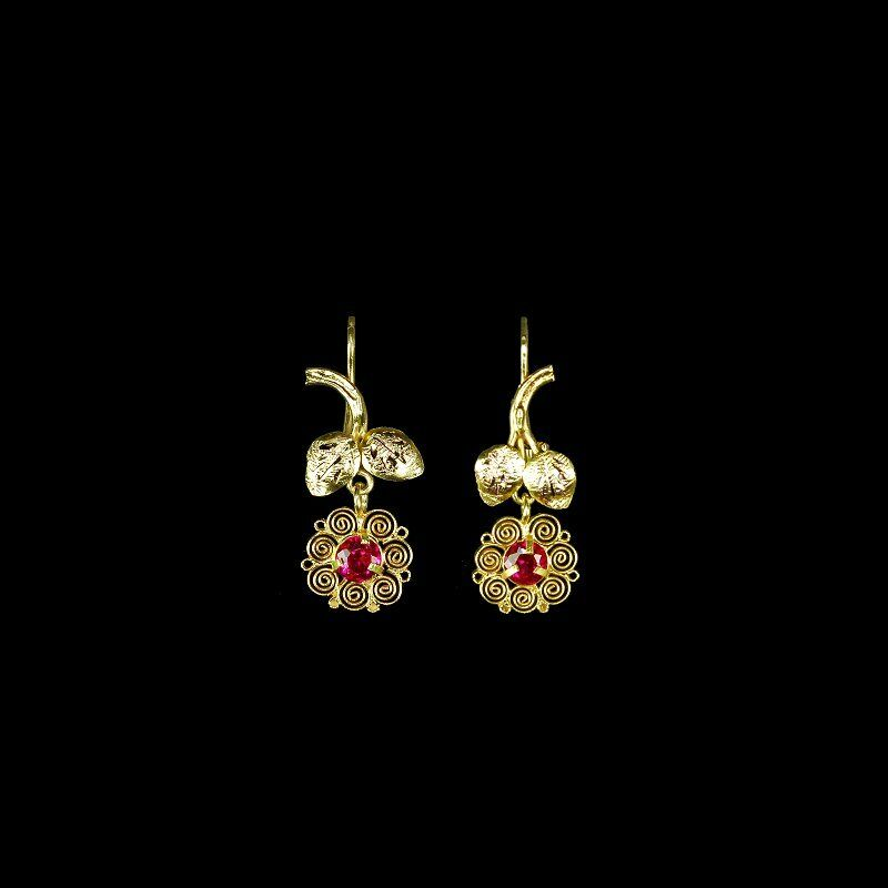 Charming handmade gold filigree dangle earrings, dainty size, red crystals M-F