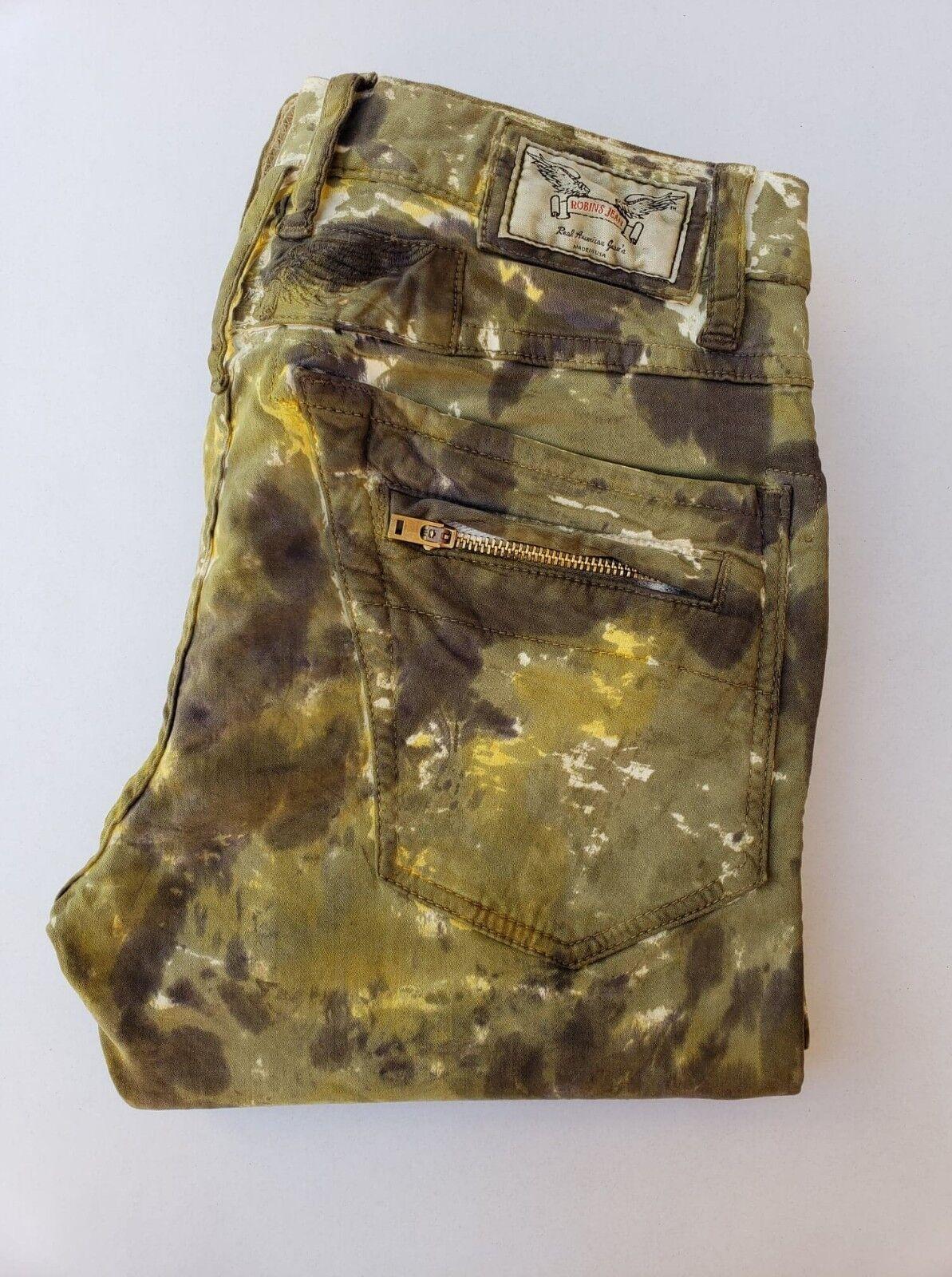 Nuovo da Uomo di ROBIN Jeans Jeans Jeans Taglie 29 Motard Slim Camo Jeans 339986