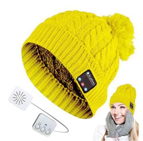 Bluetooth-Strickmütze mit Bommel Wintermütze Bommelmütze verschiedene Farben