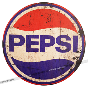 PEPSI Cola Wood Signs Retro Vintage Wooden Circle Man Cave Pub Bar Wall Sign UK