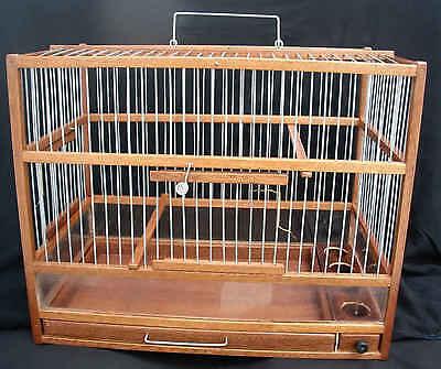 """Jolie Cage Oiseaux En Bois Noble """"acajou"""" , Avec Plexyglass"""