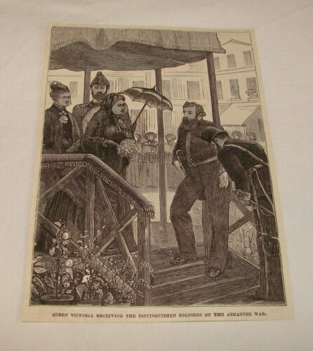 1877 magazine engraving QUEEN VICTORIA Recieving Soldiers