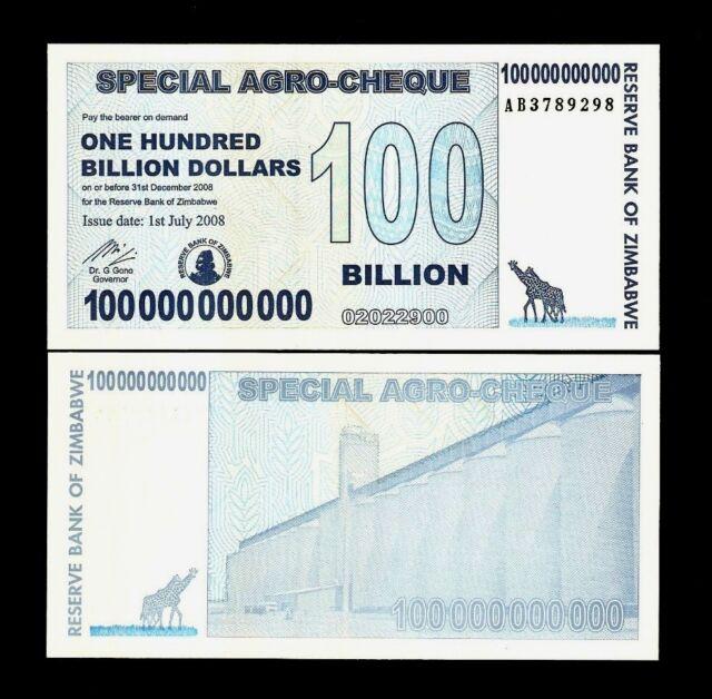 Zimbabwe 100 000 Billion Dollars P64 2008 Ab Zebra Unc Money Note