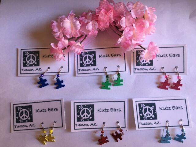 Silvertone Puzzle Piece Various Colors Autism Awareness Dangle Earrings