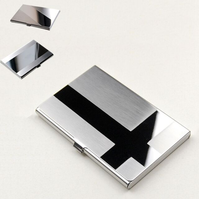Brushed Stainless Steel Card Case Snap Flip Card Storage Boxes No Deformation