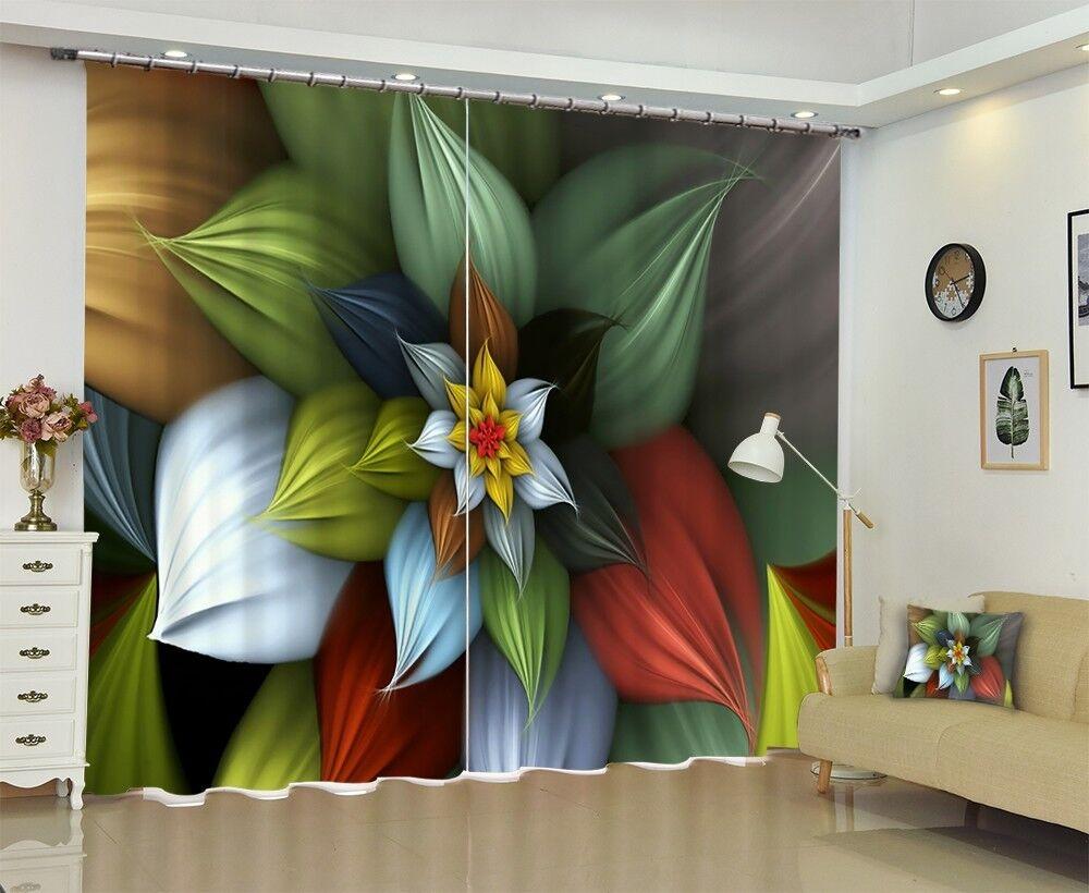 3D Coloridas flor 56 Foto Impresión De Cortina Tela Cortinas Blockout Ventana CA