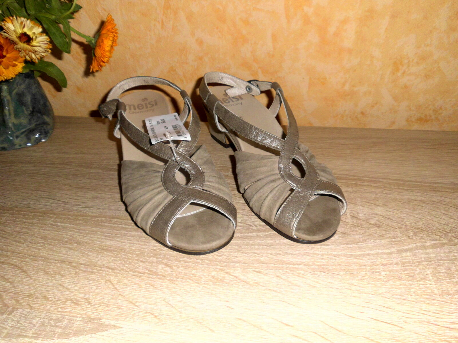 Edle Sandalette von MEISI NEU Gr. bronze 5,5 38,5 F in taupe bronze Gr. & Leder HANDARBEIT a4fc34