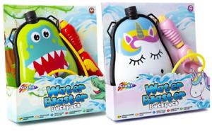 Water Blaster Pistol Gun & Dinosaur & Unicorn Backpack Kids Outdoor Super Soaker