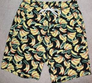 Forever 21 Para Hombre Pantalones Cortos De Algodon Impresion Banana Xs Cintura Con Cordon 29 Ebay