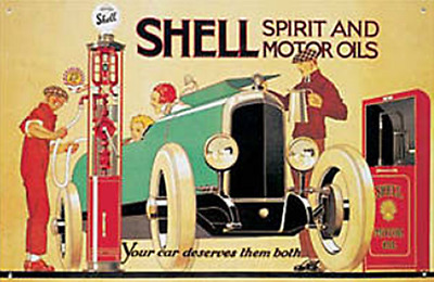 fd Shell /'How to Buy Oil!/' large steel sign 420mm x 275mm