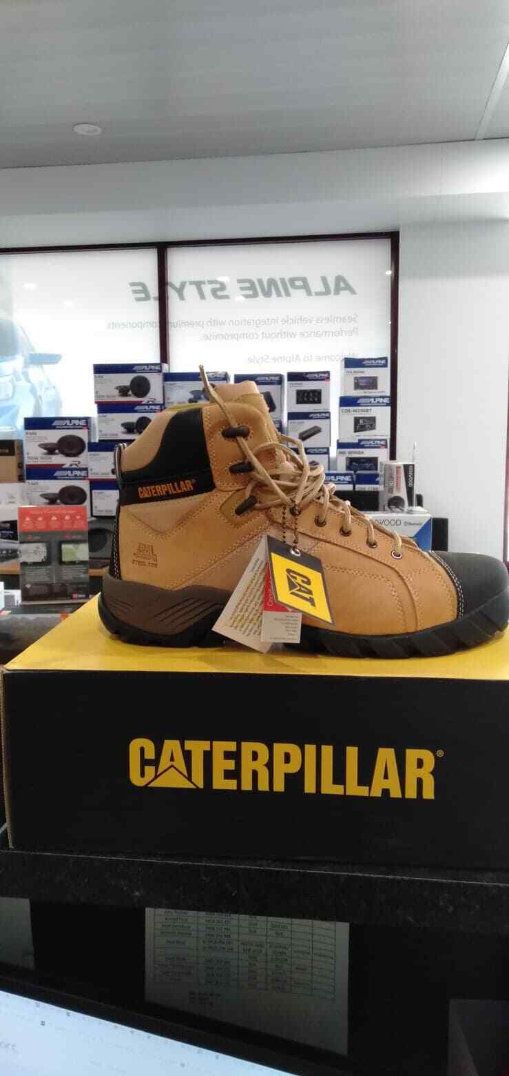 66eb06e4a6d Caterpillar Argon Hi Side Zip Mens Steel Toe Safety Wide Fit Work BOOTS 7  US or 25 Cm Honey