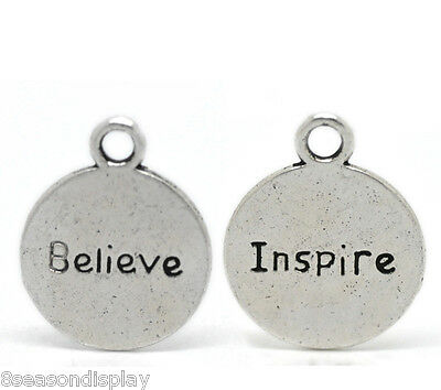 "20PCs Silver Tone ""Believe Inspire"" Message Charm Pendants 20x16mm(6/8""x5/8"")"