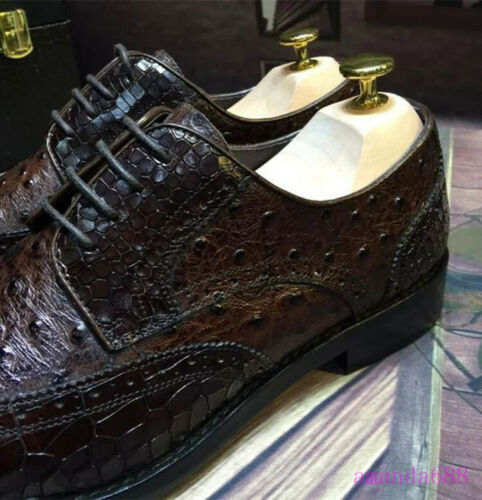 Handmade Mens Real Leather Crocodile Pattern Formal Dress Shoes Wing Tip Oxfords