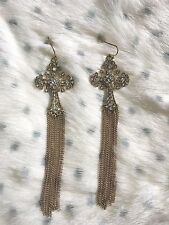 Renaissance Gorgeous Bohemian Gothic Style Cross Gold Tone Long Tassell Earrings