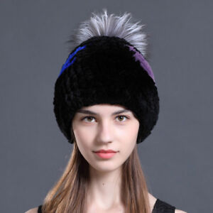 638887090a1f0 Image is loading Knit-Rex-Rabbit-Fur-Beanie-Hat-WIth-Silver-