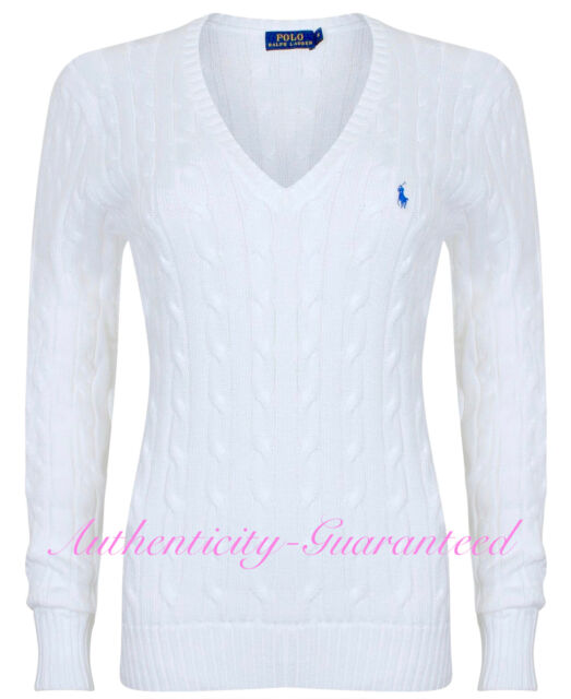 b37822ffb322f2 Womens Polo Ralph Lauren Jumper Sweater Cable Knit V Neck Slim Fit ...