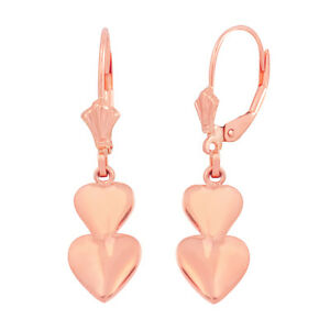 Image Is Loading 14k Rose Gold Engravable Stacked Two Love Heart
