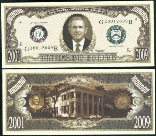 Lot of 2 bills GEORGE W BUSH 43rd PRESIDENT DOLLAR