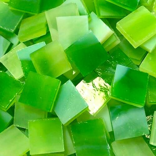 """100 PIECES 1//2/"""" GREEN Stained Glass Mosaic Tiles"""