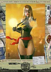 Ms-Marvel-Sexy-Carol-Danvers-Captain-Sunset-City-Comic-A3-Signed-Print-Marvel