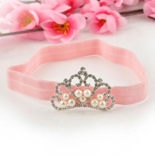 New Fashion Baby Infant Toddler Girl Princess Crown Pearl Headband Hair Band