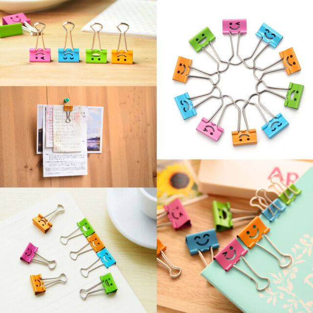 10Pcs Colorful 19mm Metal Smile Office File Paper Binder Home Organizer Clips