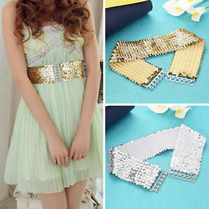 Women-Fashion-Casual-Elastic-Stretch-Shinning-Sequin-Waist-Waistband-Belt-om