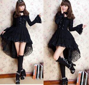 Kawaii-GOTHIC-PUNK-LOLITA-ALICE-swallow-tail-DRESS-CHOKER-S-L-81145-Black