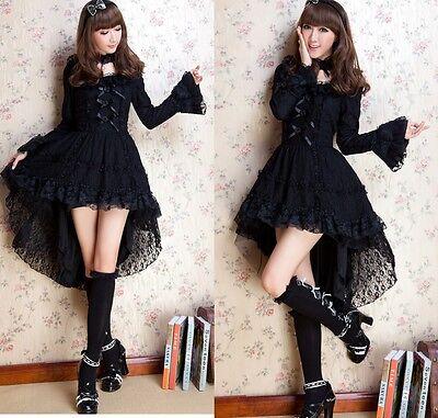 Kawaii GOTHIC PUNK LOLITA ALICE swallow tail DRESS +CHOKER S-L 81145 Black