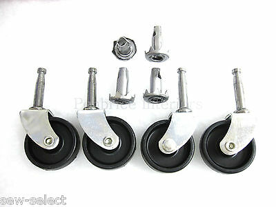 SET OF 4 NEW CASTORS  STRONG FURNITURE WHEELS Black sofa chair upholstery glides